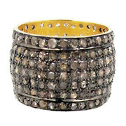 20x20 Mm 3.29ct Pave Diamond 925 Sterling Silver Wide Band Ring