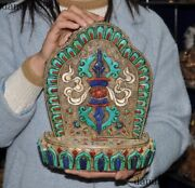 Old Nepal Silver Filigree Inlay Turquoise Coral Lapis Lazuli Fokan Niche Shrines
