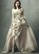 8995 New Marchesa One Shoulder Gown 3 D Flowers Beaded Pink Blush Nude Dress 8