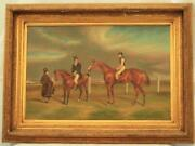 Thoroughbred Race Horse Oil On Canvas By G.roy