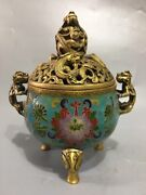 7 Chinese Antique Ming Xuande Mark Cloisonne Brass Beast Ear Incense Burner