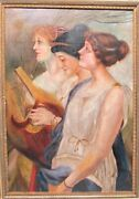 Large 19th C. Pre-raphaelite Oil Painting Of Women In Ornate Frame  Antique