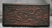 11 Old Chinese Red Wood Carving Dragon Play Bead Storage Treasures Jewelry Box