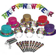 New Years Eve Party Supply Kit For 10 Tiaras Top Hats Horns Banner Spiral Throws