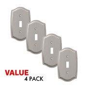 Value 4-pack Toggle Light Switch Stylish Stamped Steel, Brushed Nickel