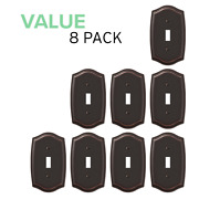 Value 8-pack Toggle Light Switch Stylish Stamped Steel, Oil Rubbed Bronze