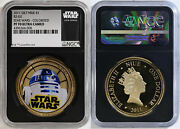 2011 Gilt Gold Plating Niue 1 R2-d2 Star Wars Colorized Ngc Pf70 Uc
