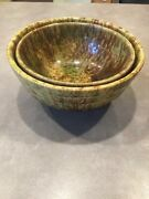 Lot Of 2 Morton Pottery Il Woodland Glaze Yellowware Nesting Mixing Bowls Splatt