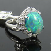 Vintage 3.29ct Natural Black Opal And 0.60ct Diamond Platinum Cocktail Ring