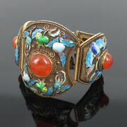 Antique 25.0ct Carnelian And Multi Color Enamel Hand Made Silver Wide Cuff Bangle