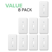 Value 8-pack Toggle Light Switch Decorative Stamped Steel Wallplate, White