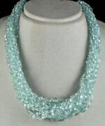 Natural Blue Aquamarine Beads Faceted Teardrops 15 Line 760 Cts Unique Necklace