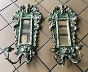 Antique Pair Winged Mermaid Mirror Candle Sconce Italian Florentine Wood Rococo