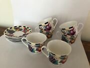 6 Set Jumbo Cup And Saucer Elegance Fine Bone China Fruit Made In England 14 Oz