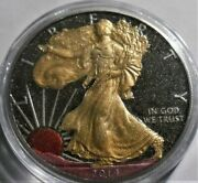 2014 American Silver Eagle 1oz Silver Coin Colorized With 24k Gold Gilding
