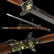 New Lily Sword Hand Forged Pattern Steel Blade Copper + Gold-plate Fittings 011