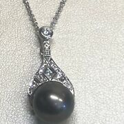18k White Gold Tahitian Pearl And Diamond Necklace
