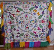 India Tapestry Bed Canopy Finely Embroidered Table Cover Wall Hanging Textile
