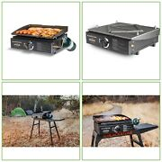 Portable 17 In Tabletop Propane Griddle Stainless Steel Burner Outdoor Cooking