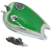 New Green Paint Chrome Plated Bsa C11 C10 Fuel Tank With Cap And Petcock Cdn