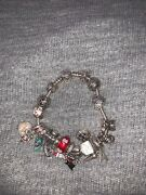 Pandora Bracelet Size 7.0 In 100 Original 18 Charms And Safety Chain Ale 925 Gems