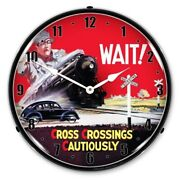 Wait Train Railroad Crossing Safety 1 Man Cave Backlit Led Lighted Wall Clock