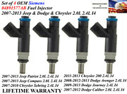 Oem Siemens Set Of 4 Fuel Injectors For 2007-13 Dodge And Jeep And Chrysler 2.0/2.4l