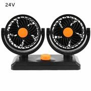 24v Dual Head Car Fan 360° Rotatable Portable Vehicle Truck Cooling Cooler Nice