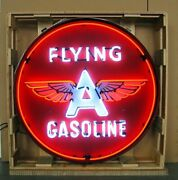 Flying A Gasoline In Steel Can Neon Sign