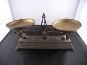 Antique Cast Iron Candy Or Farm Scale 5 Kilo Complete Heavy And Ornate Works