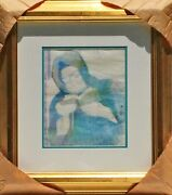 Guillaume Azoulay Baba Sali Original Color Pencil Sketch On Paper Framed Coa