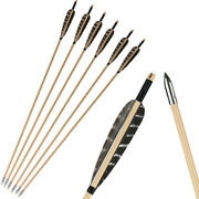 6-48pcs Archery Wooden Arrows With Fixed Arrowheads Turkey Feather For Hunting