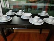 Liling Fine China Soup Bowl, Plate,tea Blue Gray Flowers Yung Shen 21 Pieces
