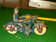 Vintage 1930and039s Hubley Cast Iron Champion Motorcycleandnbsp