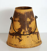 Antique Galvanized Metal Milking Dairy Bucket / Milk Pail With Old Yellow Paint