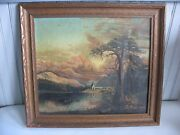 Original Ooc Oil On Canvas Vintage Signed Mountains Trees Water People Village