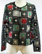 Jenni Max Nyc Holiday Party Jacket Christmas Embroidered Cardigan Tree Holly St