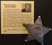 Lincoln County New Mexico Sheriff Badge Old West Pat Garrett Billy The Kid
