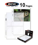 10 Bcw 2 Pocket Pages For 5x7 Photos / Postcards For 3 Rings Binders Archival