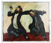 Dancing To Celebrate By Adolf Adler Signed Oil On Canvas 20 X 24 W/ Coa