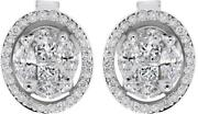 Estate 1.05ct Diamond 18k White Gold 3d Round Cluster Halo Classic Stud Earrings