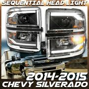 For 14-15 Chevy Silverado Projector Headlight With Led Sequential Drl Light Bar
