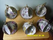 Vintage Royal Sealy China Tea Cups W/ Plates Very Floral Japan