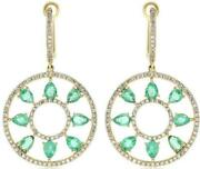 3.02ct Diamond And Aaa Emerald 14k Yellow Gold Pear Shape Clip On Hanging Earrings