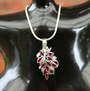 Vintage Natural Ruby And Diamond White Gold Pendant Necklace Vtg