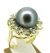 .36 Ct Tw Diamonds 18k Yellow Gold Salt Water Pearl Halo Style Cocktail Ring