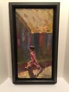 """Susie Pryor Painting Oil On Canvas """"girl On The Go"""" 12x24"""