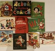 Vtg Collectible Merry Christmas Comics Fold Out Pop Up Unused 9 Paper Cards