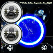 1 Pair Motorcycle 7 Round Led Headlight Cob Halo Angle Eyes For Harley Jeep Bmw