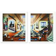 Ferjo Perfect Afternoon Diptych Signed Limited Edition Giclee On Canvas